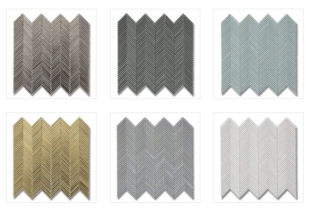 The Textile Glass color palette: Top row - Silver Silk, Lunar Gray, Icelandic Blue Lower row: Gold Silk, Dove Gray, Arctic White