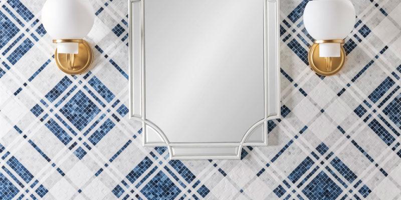 Balmoral Plaid Sapphire (G) Art Glass Carrara (H), Thassos (H)